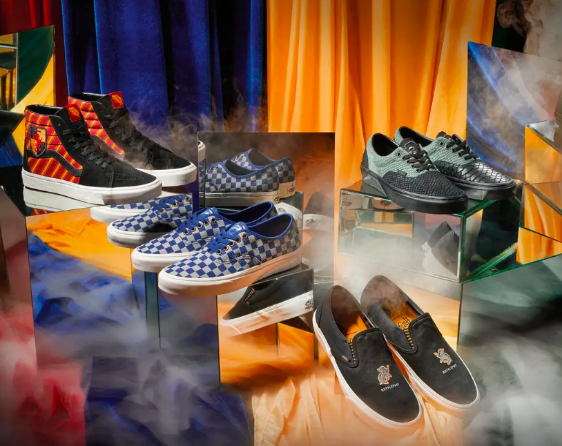 Vans and Harry Potter collaborated to conjure a magical collection of footwear featuring Vans sk8-hi, era, authentic and slip-on.
