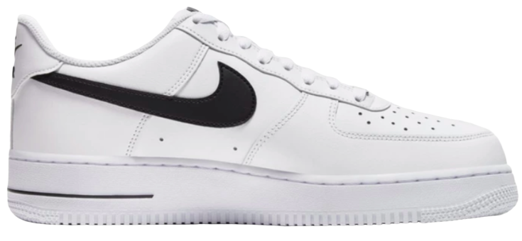 This image shows the lateral view of the Nike Air Force 1 '07 white colour way