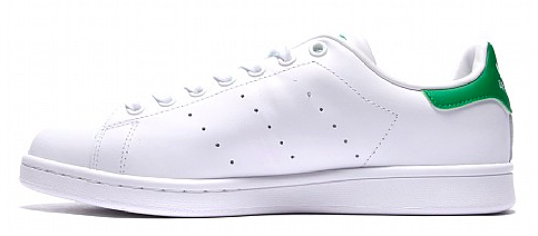 Showing the medial vie of the Adidas Stan Smith