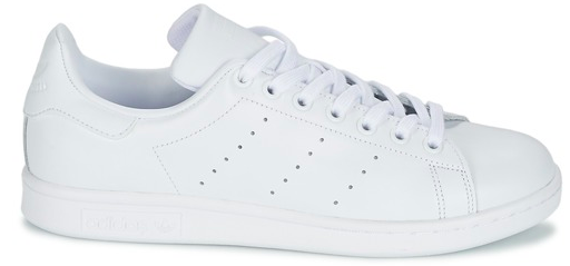 Showing the white colourway of the Adidas Stan Smith