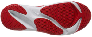 Showing the outsole of Nike Zoom 2k Off White University Red